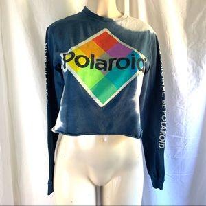 Polaroid crop top long sleeve shirt tie dye small